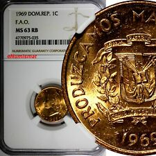 Dominican Republic Bronze 1969 1 Centavo NGC MS63 RB F.A.O  KM# 32