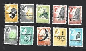 SWAZILAND 1968, QE II, 10 x 1968 STAMPS O/PTD 'INDEPENDENCE 1968', SG.142-151 MH