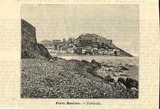 Stampa antica PORTO MAURIZIO veduta panoramica Imperia Liguria 1891 Old print