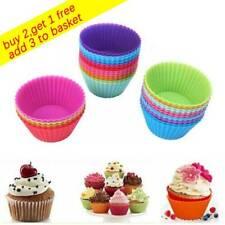 6/12 un. Reutilizable de Silicona Molde Para Pastel Taza Mollete casos Cupcake Liner Hazlo tú mismo UK