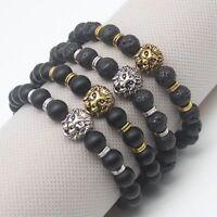 Homme Noir Pierre de Lave Doré&Argenté Lion Perle Cuff Charm Bracelet 1pc