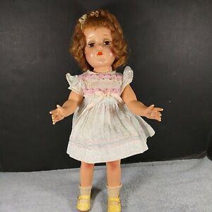 "Vintage 15"" HP Doll J. Halpern Co. Halco Brown Sleep Eyes Closed Mouth 40s 50s"