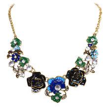 Enamel Floral Rose Choker Necklace Fashion Jewelry