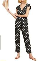 $188 Anthropologie Corey Lynn Calter Small Polka Dot Wrapped Jumpsuit made in us