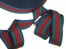 "1"" Stripe Grosgrain Ribbon Navy Blue Red Green Millinery Ribbon 50 yds #RB1"