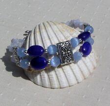 "Blue Jade, Blue Lace Agate & Blue Cats Eye Crystal Gemstone Bracelet ""Selene"""