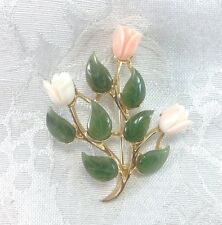 Swoboda Jade Flowers Rose Buds Vintage Pin Brooch Floral Pattern