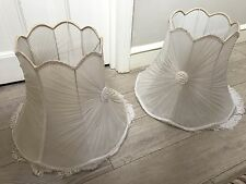 pair of huge white chiffon pleated vintage lampshades