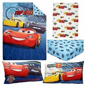 DISNEY PIXAR MCQUEEN  CARS TOP Speed 4-Piece Toddler Bedding Set