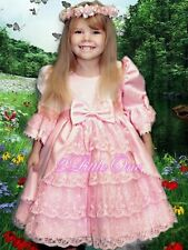 Lace Satin Victorian Princess Dress Flower Girl Pageant Party Pink Sz 12-24M 003