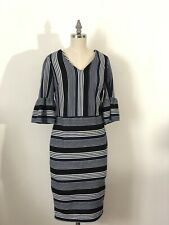 b79438c5 New York Women's Small 2 Blue & White Stripped Fitted Midi Dress Bell Sleeve