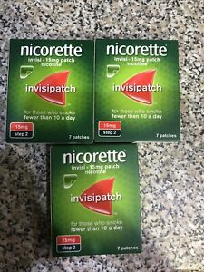 Nicorette InvisiPatch (Step 2) 7 X 15mg Patches - 3 Packets (21 Patches Total)