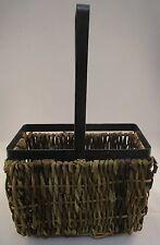 Metal & Basket Weave Wine Bottle Holder - Carrier - Rustic Charm - Display Item