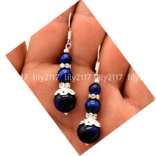 Natural 6/8/10mm Blue Tiger's Eye Gems Round Beads Silver Hook Dangle Earrings