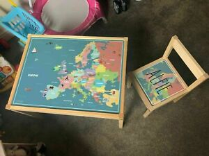 Personalised Children's Ikea LATT Wooden Table and 1 Chair Printed Europe Map