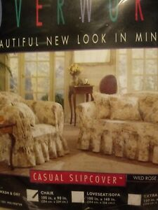 SureFit Vintage Loveseat and Chair Cover Set Slipcover NIP Wild Rose Natural