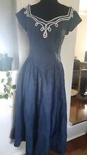VTG Vintage 80s does 50s 1950s Full Circle Skirt Navy Blue Dress