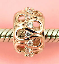 SOLID 9CT ROSE GOLD Ribbon Wave BEAD with 16pcs Sparkling CZ For Charm Bracelet