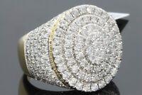 3.30Ct Round Cut VVS1/D Diamond Wedding Men's Cluster Ring 14k Yellow Gold Over