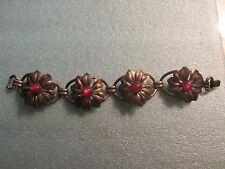 Vintage Sterling Silver Flower Design Cabochon Stones KREISLER Signed Bracelet