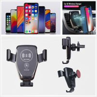 10W QI Fast Wireless Charger Car Mount Air Vent Dashboard 4-6.5inch Phone Holder