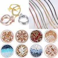 DIY My Coin Disc Crystal Mi Holder Locket Pendant Chain Necklace Gift Jewellery