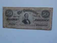 Civil War Confederate 1864 50 Dollar Bill Richmond Virginia Paper Money Note CS