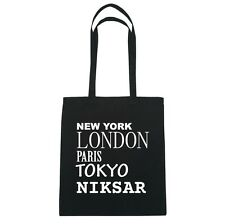 New York, London, Paris, Tokyo niksar - Borsa di iuta Borsa - colore: Nero