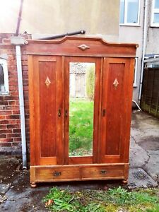 Antique Pine Knock Down Triple Wardrobe DELIVERY/ASSEMBLY AVAILABLE