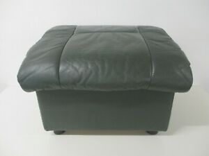 EKORNES Ottoman Footstool, Green Leather, Lift Lid with Storage, 54cm Wide