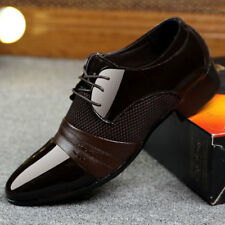 Men's Shoes Formal Dress Business Oxford Pointy Toe Cloth Lace Up Patent Leather
