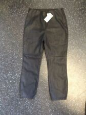 River Island Petite Black Leather Look Calf Length Trousers Bnwt Size 14
