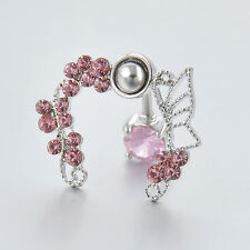 Sexy Women Pink Butterfly Crystal Flower Navel Belly Ring Studs Piercing Jewelry