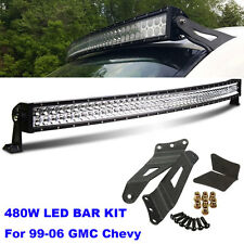 Fit 99-06 Chevy Suburban/Tahoe/Silverado 480W Curved LED Light Bar roof bracket