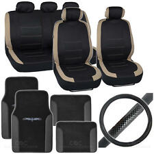 Full Interior Set Car Seat Cover, Mat & Steering Wheel Cover - Beige / Black