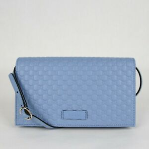 Gucci Light Blue Micro GG Guccissima Leather Crossbody Wallet Bag 466507 4503