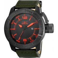Invicta Men's 50mm 'Corduba' Quartz SS Black & Red Dial Green Nylon Watch 21918