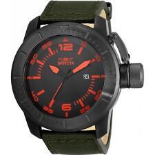 Invicta Men's 50mm 'Corduba' Quartz SS Black & Red Dial Green Nylon Watch 21918
