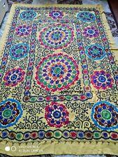 Shakhrisabz cotton on silk hand embroidery Large Suzani.Bedspread, 184 x 116 cm