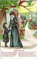 Sad Grieving Widow Cemetery German Poem IV Bergmannsfind Embossed 1910 Postcard