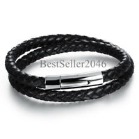 """Men Black Braided Leather Bracelet Bangle with Stainless Steel Magnetic Clasp 8"""""""