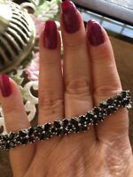 """7.25"""" 22.25ct Black Spinel Platinum Over Sterling Silver Bracelet"""