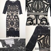 Phase Eight Black Lace Dress Ladies Sz 12 Evening Occasions Party Dress