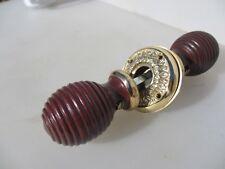 Wooden Door Knobs Handles Brass Plates Beehive Victorian STYLE Reeded