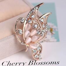 Women Opal Stone Crystal Rhinestone Rose Gold Brooch Pin Wedding Bridal Gift