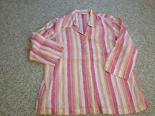 JM Collection Women's Striped Linen Button Down Blouse - Size 14 (NEW)