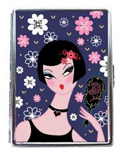 Vanite Pin Up Girl Vintage Style Pink Flowers Fluff Business Card Metal ID Case