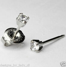 LONG POST 14kt  White Gold 3mm Clear CZ Ear Piercing Earrings Studex System 75