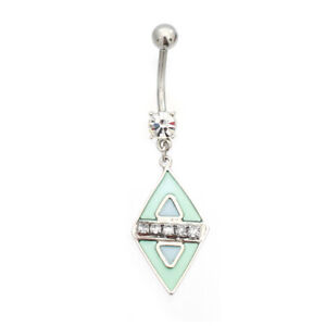 Belly Button Ring with Pastel Diamond Design Dangle 14ga