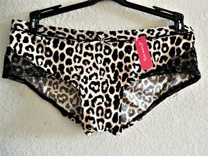Womens Plus Size 1X Clothes Sexy Natural Leopard Panties NWT $14 Pucker Up